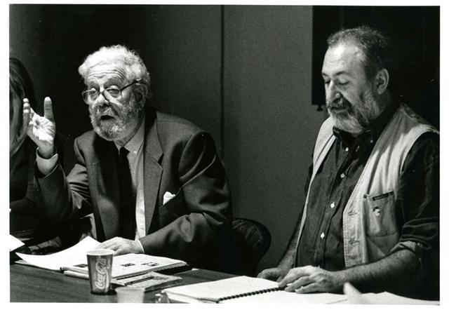"Luis García Berlanga y Juli Leal, en la primera lectura de ""Tres forasters de Madrid"". Autor: Vicente A. Jiménez. Teatres de la Generalitat Valenciana."